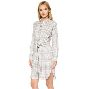 J.O.A. Grey Plaid Tie Front Shirt Dress